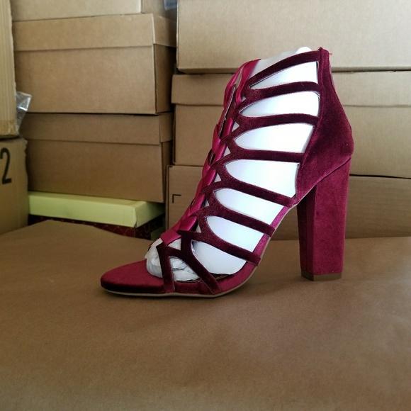 bd59a52a046 Sharon-Soft Velvet Lace Up Caged Sandal Block Heel